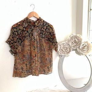 Zara Sheer Floral Blouse Open Back